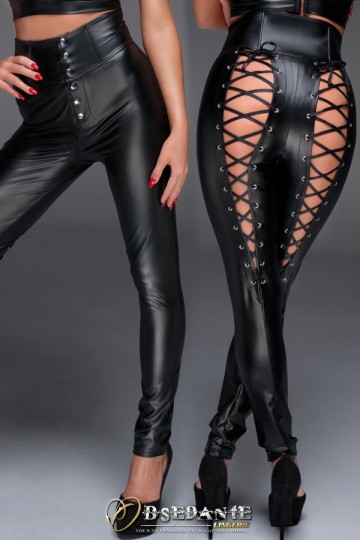 Pantalon Taille Haute Dos Fetish Laçage Corset