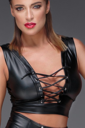 Top Fetish Corset WetLook Noir HandMade