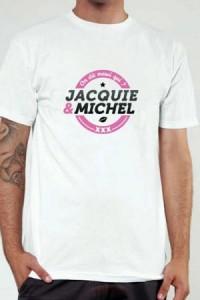 T Shirt Officiel Jacquie et Michel Blanc et Rose