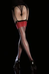 Bas Noire Couture Rouge et Jarretière Rouge Anais Fiore