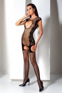 Combi Bodystocking Résille et Fleurs Jarretelles Larges Noir Passion lingerie