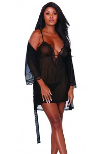 Nuisette et peignoir transparent noir - DG12239BLK Dreamgirl