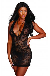 Robe lingerie noire en dentelle avec son string Dreamgirl