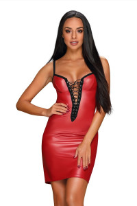 Robe Redella Effet Cuir Rouge Obsessive