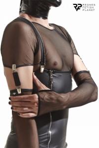 Gants Homme Longs Maille Noire avec Bretelles Cross Dresser Regnes