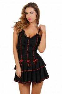 Robe Flamenco Noir à Volants et Ruban Rouge Spazm