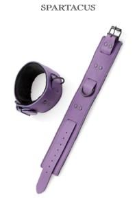 Bracelets Menottes SM de Chevilles Cuir violet Spartacus IM#10899