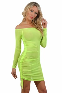 Robe Taille L/XL Sexy Jaune Fluo Micro Résille Transparente Spazm Clubwear By Soisbelle