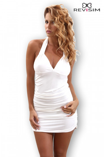 Petite Robe Blanche Taille XL/2XL Sexy Hanches Froncées