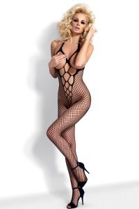 Conbinaison Résille Ouverte Entrejambe Sexy Noire Obsessive IM#15662