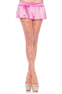 Collant Petits Coeurs Roses by Leg Avenue