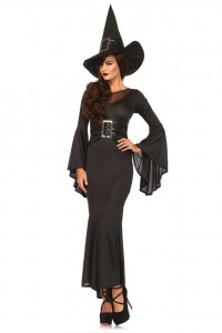 Costume Sorcière Robe Longue Moulante Chic Leg Avenue