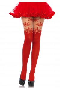 Collants Noel Flocons de Neige Rouge