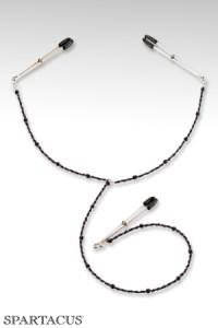 Pinces à Seins Clitoris Collier Y Perles Pourpres Spartacus IM#35661