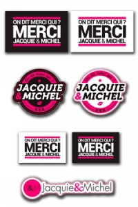 Assortiment 7 Autocollants Jacquie & Michel Stickers J&M Jacquie & Michel