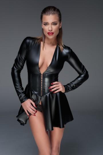 Mini Robe Corset Fetish WetLook Noir HandMade