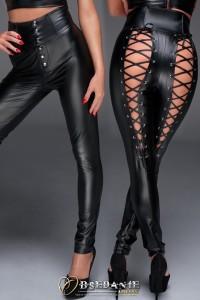 Pantalon Taille Haute Dos Fetish Laçage Corset Noir HandMade