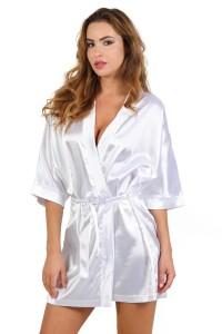 Déshabillé Court Peignoir Kimono Satin Blanc