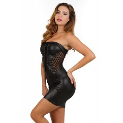 Robe Sexy Club Wetlook et Résille Spazm
