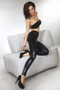 Legging Sexy Noir Moulant Effet Mouillé by Livco Corsetti