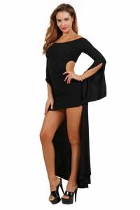 Robe Sexy Noir Asymétrique Spazm