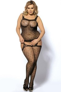 Combi Grande Taille Sexy Noire Résille Effet Guépière et Bas Paris Hollywood Grande Taille IM#51643