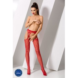 Collants Ouverts Doubles Jarretelles Rouge Passion