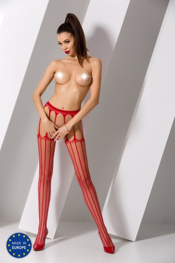Collants Ouverts Multiples Jarretelles Rouge Passion