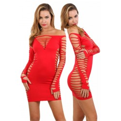Robe Ultra Sexy ClubWear Ajourée Rouge