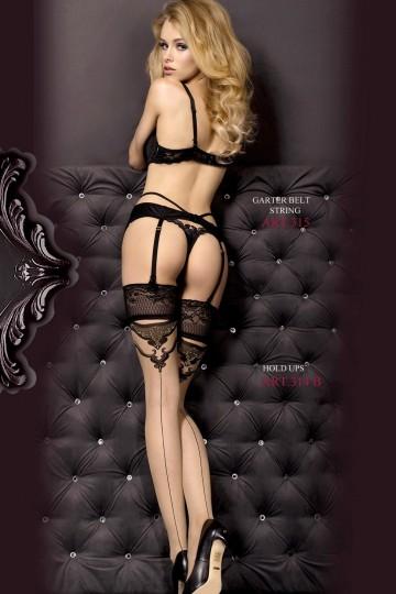 Bas Couture Nude Jarretière Noire Auto Fixant