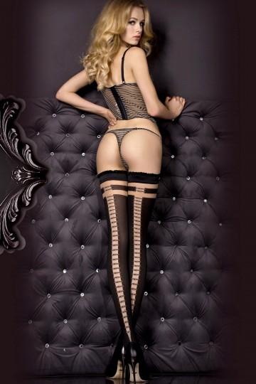 Bas Noir Couture Effet Attache Noire Argent Auto Fixant