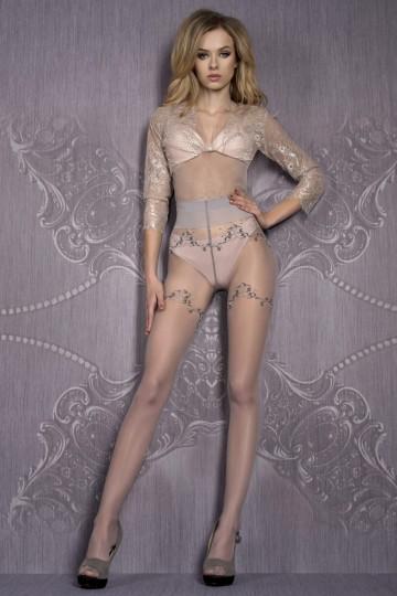 Collant Couture Fins Motifs Noir Argent