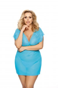 Nuisette Grande Taille Turquoise et String