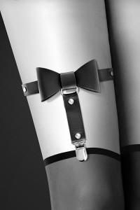 Jarretière Sexy Noeud Papillon Simili Cuir Noir Bijoux pour Toi IM#53288