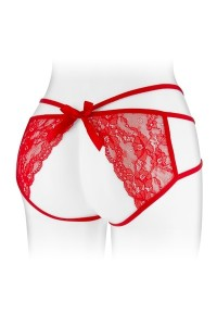 Culotte Ouverte Strappy Dentelle Rouge Nadia
