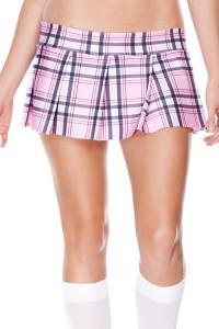Mini Jupe Écossaise Sexy Plissée Rose