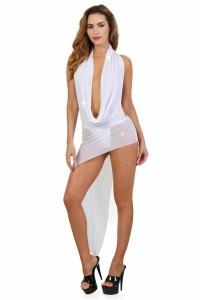 Robe Blanche Asymétrique Décolleté Vertige Drapé Spazm Clubwear By Soisbelle IM#67573