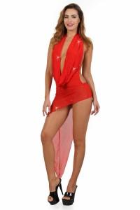 Robe Rouge Asymétrique Décolleté Vertige Drapé Spazm Clubwear By Soisbelle IM#67585