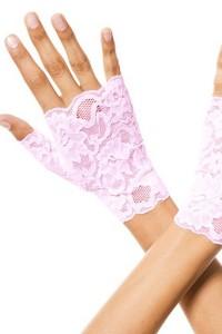 Gants roses doigts ouverts dentelle florale Music Legs
