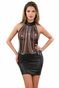 Robe Réveillon Libertin WetLook Haut Voile Transparent Chainettes Spazm IM#69817