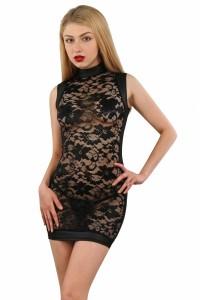 Robe Transparente Dentelle Noir et WetLook Spazm Clubwear By Soisbelle IM#71685