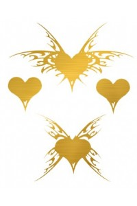 Tatouage Ephémère 4 Coeurs Effet Or Temporary Tattoo