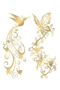 Tatouage Éphémère Pack Oiseaux Papillons Effet Or Temporary Tattoo