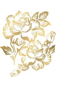 Tatouage Ephémère Grandes Fleurs Effet or Temporary Tattoo