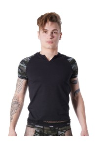 T Shirt Noir Sexy Manches Camouflage Col Rond Ouvert LOOK ME