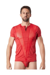 T-Shirt Rouge Fashion Bandes Résille Col Rond et Zip