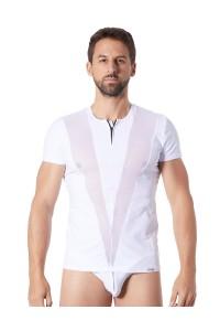 T-Shirt Blanc Fashion Bandes Résille Col Rond et Zip LOOK ME