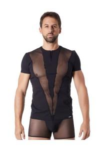 T-Shirt Noir Fashion Bandes Résille Col Rond et Zip LOOK ME