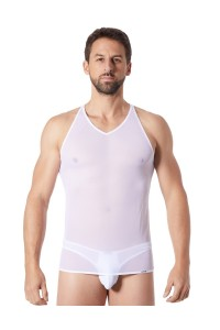 V-shirt Blanc Fine Maille Transparent LOOK ME
