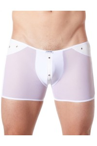 Boxer Blanc Sexy Maille Transparente Bande Style Cuir